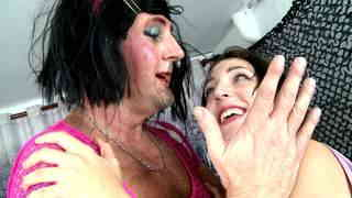 Cross dressing whore brutally  fucking her mistress   photo 11